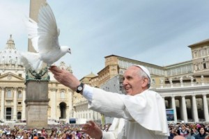 Pope Francis and a dove