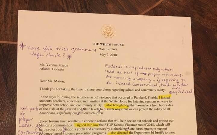 RETIRED ENGLISH TEACHER NOT IMPRESSED WITH LETTER FROM DONALD TRUMP, SENDS IT BACK WITH CORRECTIONS