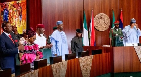 Buhari Swear-in New Ministers, Assigns Portfolios